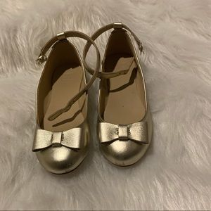Janie & Jack Gold Bow flats with strap size 12